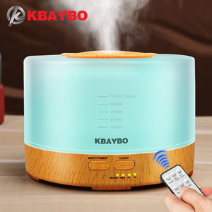 Image 1 - KBAYBO 500ml Ultrasonic Air Humidifier led light wood grain Essential Oil Diffuser aromatherapy mist maker 24V Remote Control