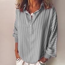8 COLORS Plus Size Woman Striped Blouse Fashion Black Top Loose Casual Button Lapel Long Sleeve White Shirt Top  S--5XL plus size striped button up shirt