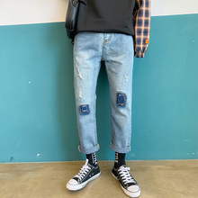 купить New Hole Jeans Men Slim Fashion Washed Casual Denim Pants Men Streetwear Hip Hop Straight Jean Trousers Male Clothes M-2XL дешево