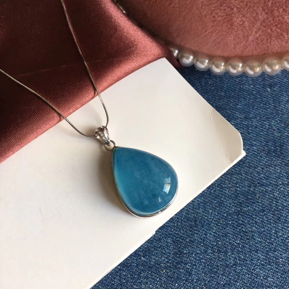 Natural Blue Aquamarine Pendant 26 5x20 5x12mm Women Men Gemstone Fashion Water Drop Clear Beads Healing