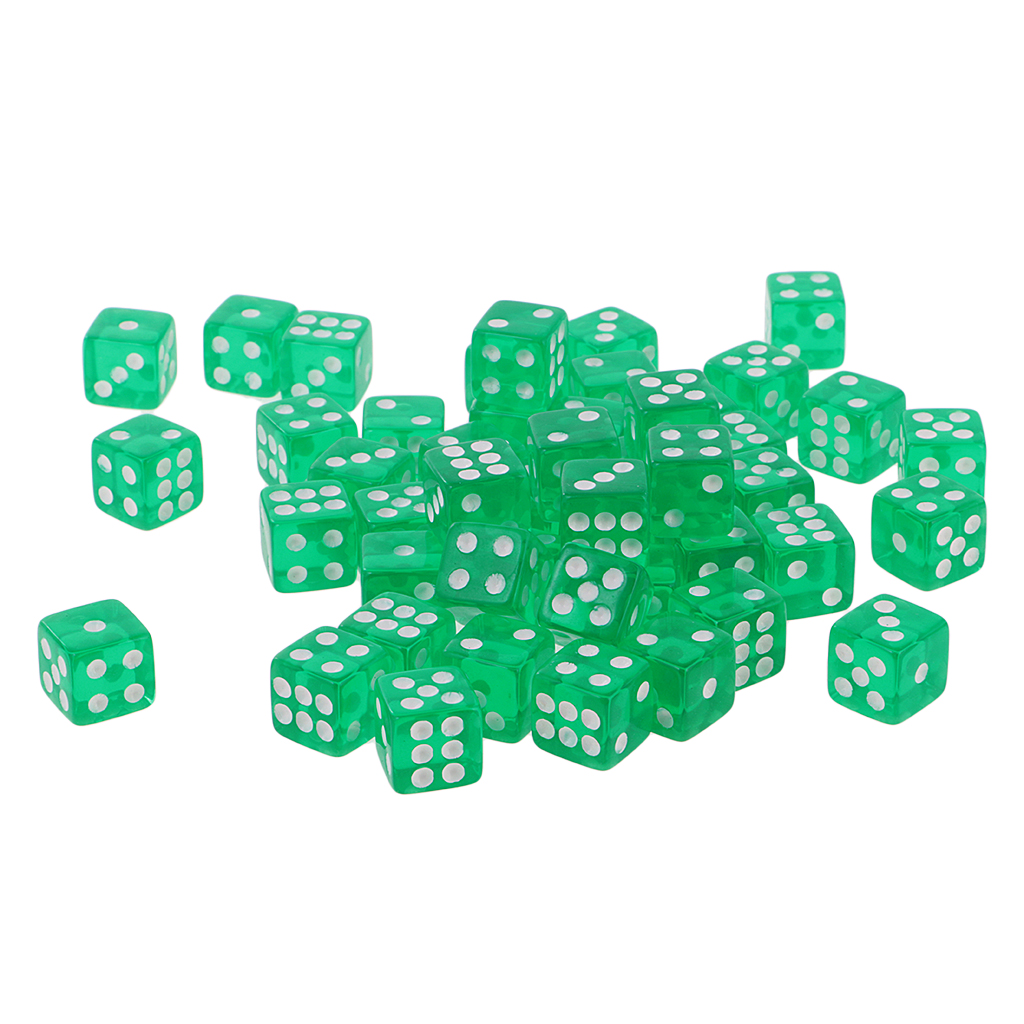 50PCS Translucent <font><b>Dice</b></font> <font><b>D6</b></font> Polyhedral <font><b>Dice</b></font> 12mm for Dungeons and Dragons Party Games <font><b>Green</b></font> image