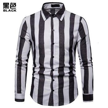 2019 New Men Striped Shirt Casual Long Sleeved Mens Shirt Business Man Shirt Male Social Dress Shirts Outwear Slim Fit Plus Size