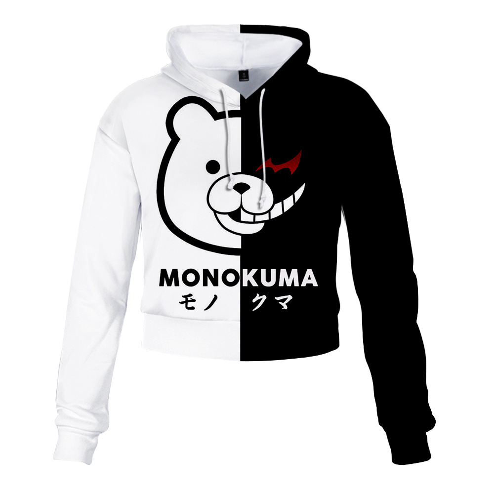 Anime Dangan Ronpa Danganronpa Mono Kuma Monokuma Black White Bear 3D Crop Top Hoodie Women Cropped Sweatshirt Cosplay Costume