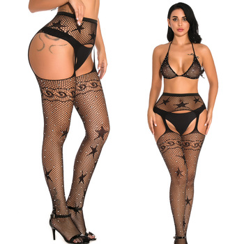 Women Tights With Rhinestones Sexy Patterned Tight High Waist Stocking Transparent Lingerie Mesh Fishnet Pantyhose Crotchless