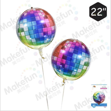 Hot selling 22 inch 4D aluminum film ball balloon colorful gradient color disco Disco decoratio