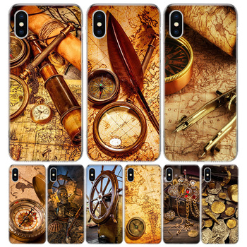 Nautical chart Gold Treasure Phone Case For Apple IPhone 11 12 Pro Mini XR X XS Max 7 8 6 6S Plus + 7G 6G 5 SE 2020 Luxury Patte image