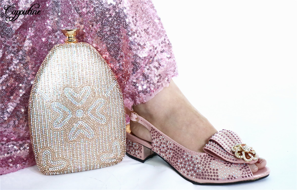 Pink Party African Lady Medium Heel Shoes And Evening Bag Set With Rhinestones GL1912-1 Heel Height 3.5CM