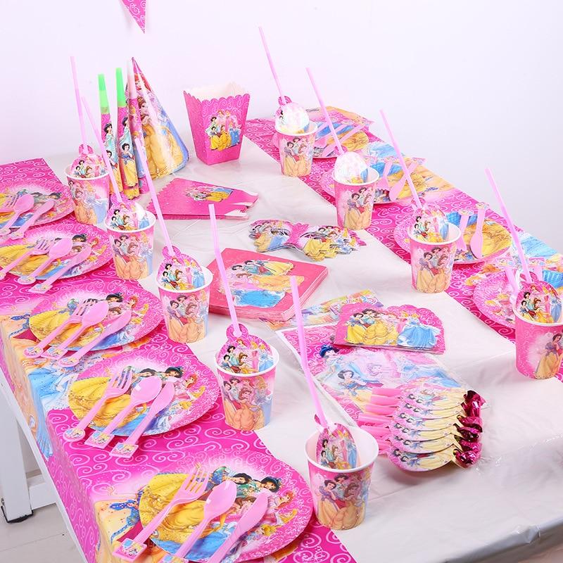 Диснеевская Принцесса, вечерние украшения, принадлежности для детей, одноразовая посуда, бумажный стаканчик, тарелка, детский душ, подарок ...