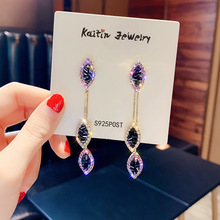 S925 Silver Needle Flash  Earrings Female Korea Fashion Joker Crystal Red Temperament Exaggerated Tide