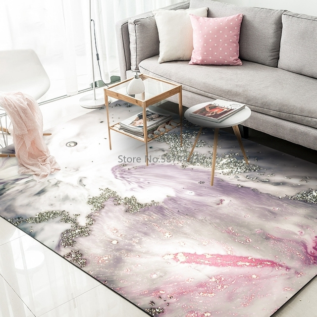 Super Promo 5281 Abstract Golden Powder Carpets Living Room Children Bedroom Pink Gray Marble Area Rugs Kids Room Play Tent Non Slip Floor Mats Cicig Co