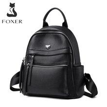 FOXER moda iş kadınları için banliyö stili sırt çantası kadın büyük kapasiteli sırt çantası Laptop için gençler deri bayan seyahat çantaları
