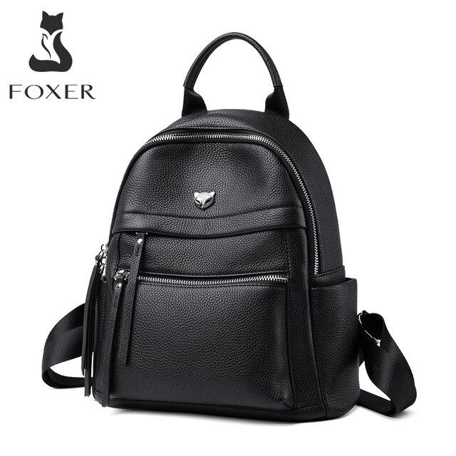 Женский деловой рюкзак FOXER, вместительный кожаный рюкзак для ноутбука и путешествий, 2019