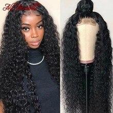 Ali annabelle encaracolado fechamento do laço peruca perucas de cabelo humano para as mulheres pré arrancado linha fina 4x4 kinky encaracolado perucas de fechamento da parte dianteira do laço perucas