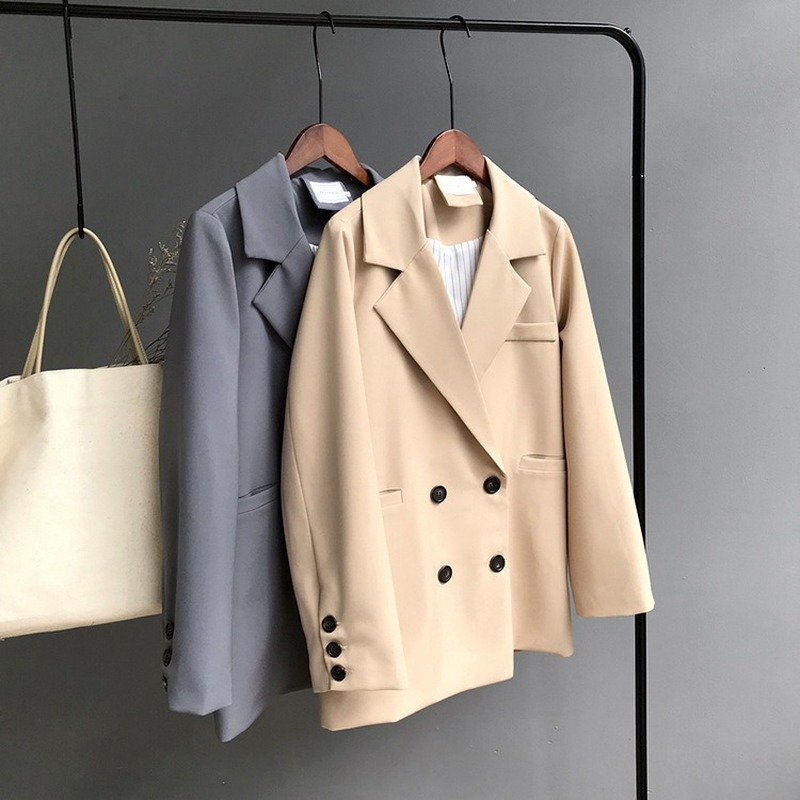 2019 Women's Autumn New Long-sleeved Jacket Female Korean Version Of The Solid Color Double-breasted Casual Blazer