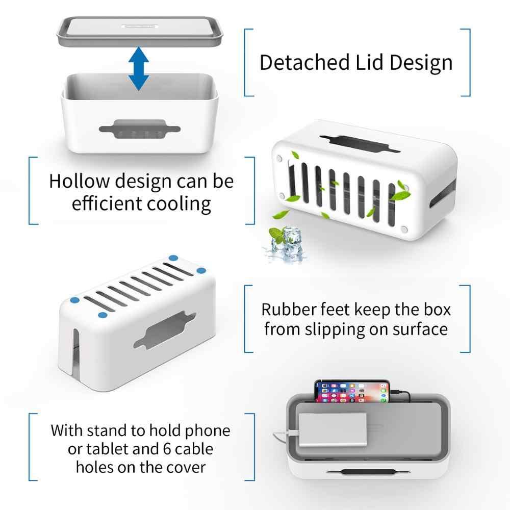NTONPOWER kablo düzenleyici saklama kutusu plastik organizatör kablo sarıcı tutucu ile güç şeridi yönetim kutusu ev ofis için