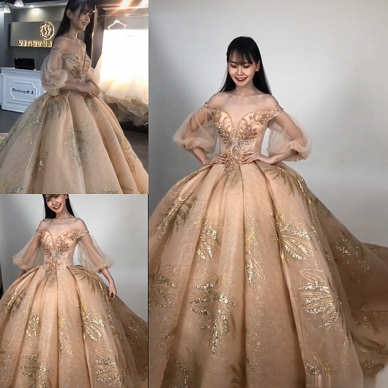 Real Photos Golden Lace Beading Long Sleeve Luxury Lace Applique Princes Bridal Ball Gownds Cusrtom
