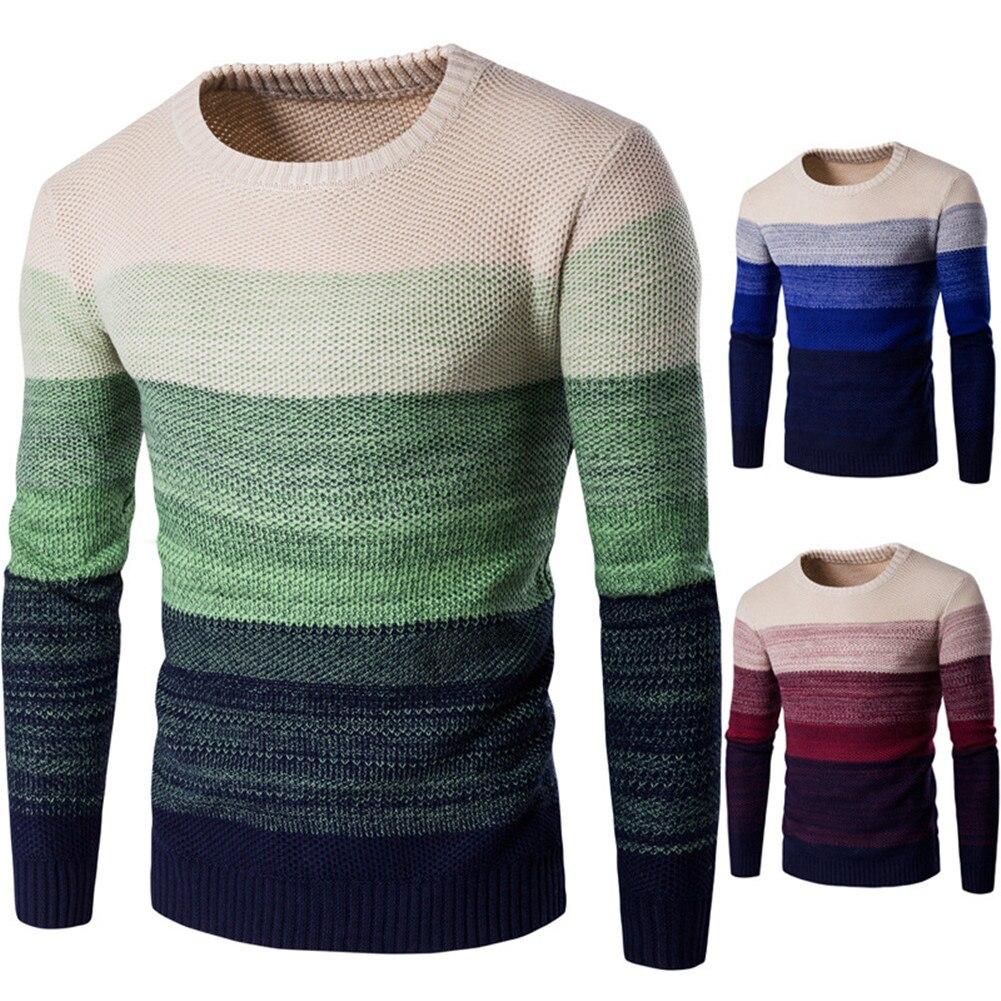 Men Autumn New O-Neck Causal Striped Sweater Pullovers Men Long Sleeve Warm Knitwear Splice Color Sweaters Jumper For Teens Men