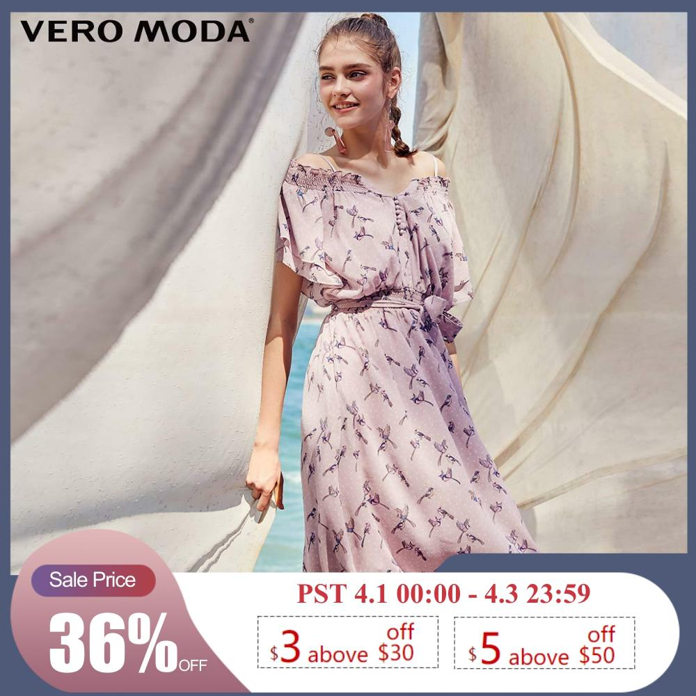 Vero Moda Women's Polka Dots Print Mid-length Chiffon Dress | 31927B541