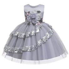 Детское праздничное платье, платья для первого причастия для девочек, коллекция года, детская одежда с цветочным рисунком, платье для маленькой леди, детский костюм-пачка L9029