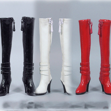 1:6 Scale Figure Accessory High Heels Long Boots Hollow Shoes ZY1008  Black/White/Red Color for 12 inches Action Figure Body sgtoys s 09 1 6 scale female figure accessory woman sexy double split long skirt set with high heels