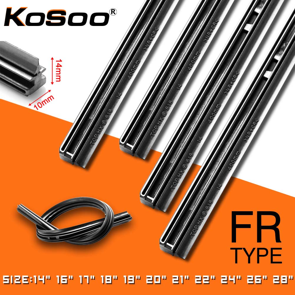 "KOSOO 1PCS Car Wiper Blade Insert Natural Rubber Strip 10mm 14""16""17""18""19""20""21""22""24""26""28"" Windscreen FR Wipe Car Accessories
