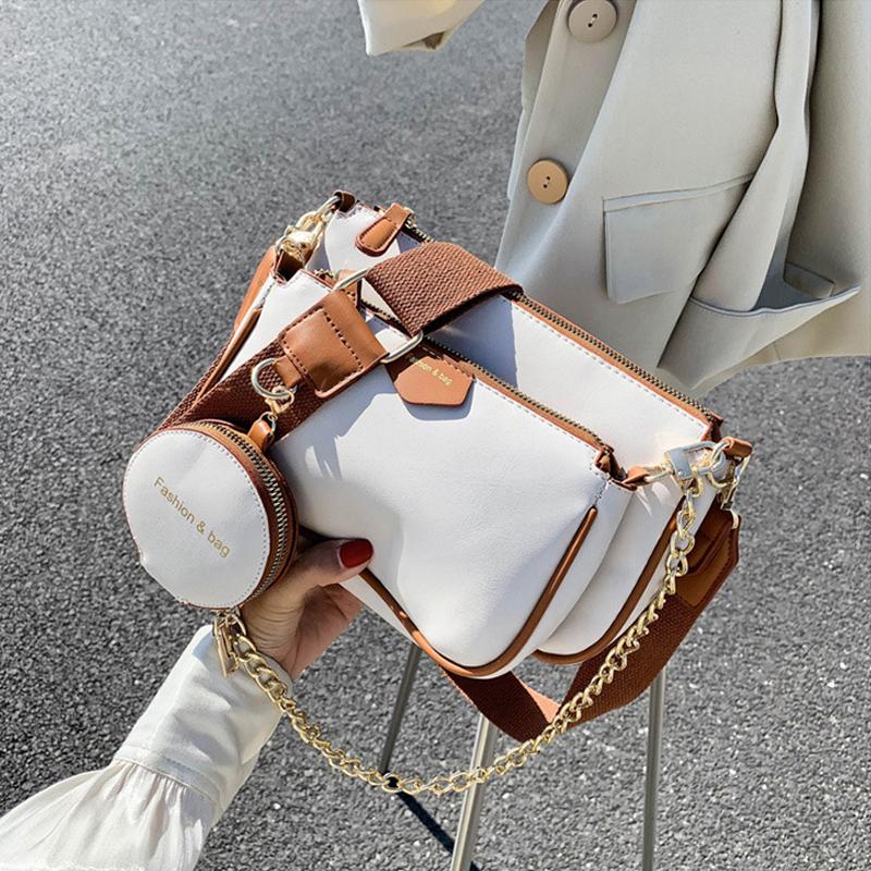 fashion chains women shoulder bags designer wide strap messenger bags luxury pu leather crossbody bag lady small purse 3 bag set