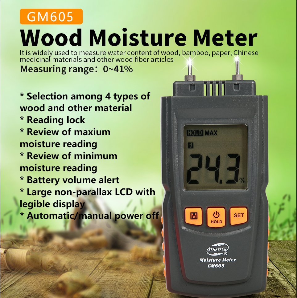 BENETECH Digital Wood Moisture Meter  Gauge Humidity Tester Timber Damp Detector Hygrometer TWO PINS GM605
