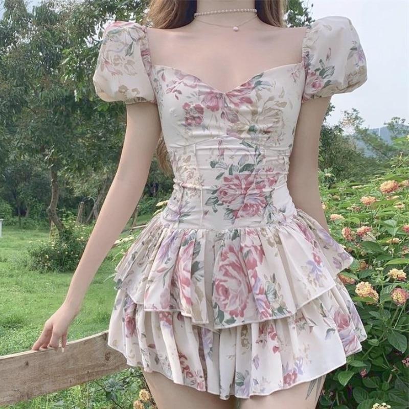 Sexy Party Mini Dresses Summer 2021 Ladies Print Puff Sleeve Club Outfits for Women Cute Bodycon Kawaii Beach Vintage Dress Boho