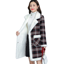 Plus Size Women Faux Lamb Velvet Jacket Autumn Winter New Plus Velvet Thick Warm Outerwear Women's Casual Long Parka Overcoat