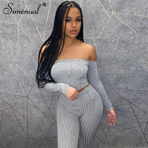 Simenual Off Shoulder Ribbed Bodycon Casual Matching Sets Women Long Sleeve Autumn 2020 Grey Crop Top And Pants Two Piece Outfit