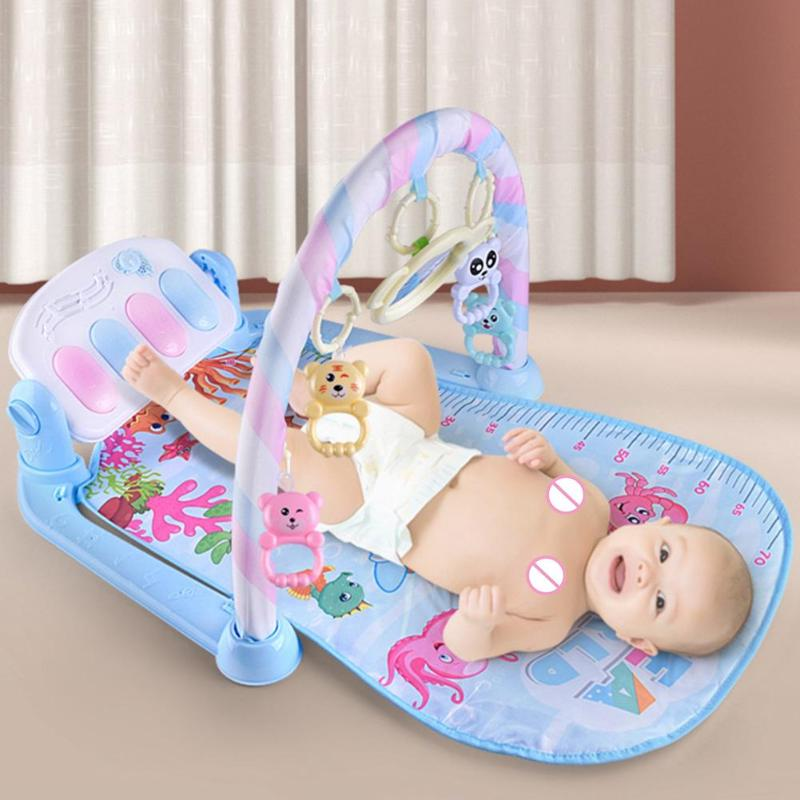 0-3M Baby Play Mat Carpet Piano Keyboard Gym Frame Infant Crawl Light Toys Infant Baby Sleeping Pad Musical Educational Toys