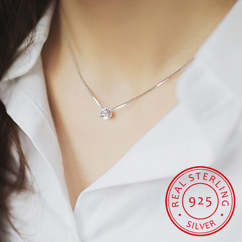 2019 New Drop Shipping 925 Sterling Silver Necklaces Crystal Zirconia Pendants&necklaces Jewelry Collar Colar De Plata image