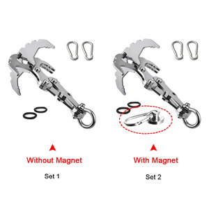 Image 2 - Folding Grappling Hook with Two Carabiners for Outdoor Survival Multifunctional Climbing Claw Carabiner Rescue Tool in Climbing