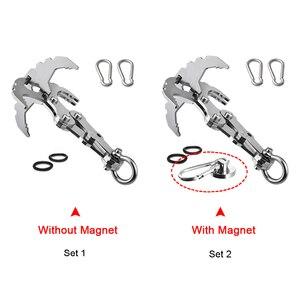 Image 2 - Vouwen Grappling Hook Met Twee Karabijnhaken Voor Outdoor Survival Multifunctionele Klimmen Klauw Karabijnhaak Rescue Tool In Klimmen