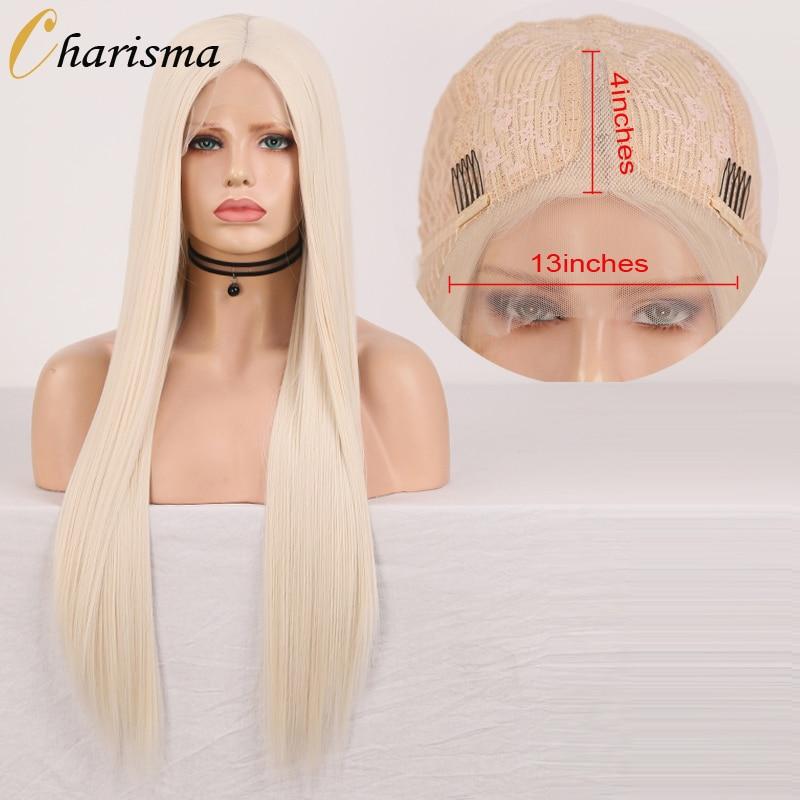 Carisma 60 platino peluca Rubio sintético peluca con malla frontal largo y sedoso pelo recto sin costuras T malla con división pelucas para mujeres