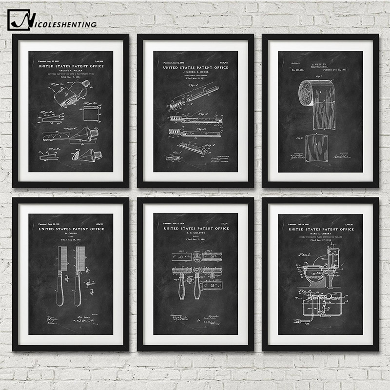 Water Closet Toothpaste Toilet Paper Patent Funny Poster Vintage Canvas Print Wall Art Picture Painting Modern Bathroom Decor