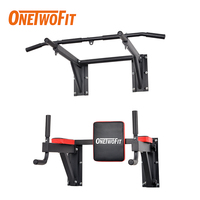 ONETWOFIT Wall Mounted Pull Up Bar Dip Station Chin Up Bar Power Tower Wall Horizontal Bars Sport Fitness Equipment for Home Gym