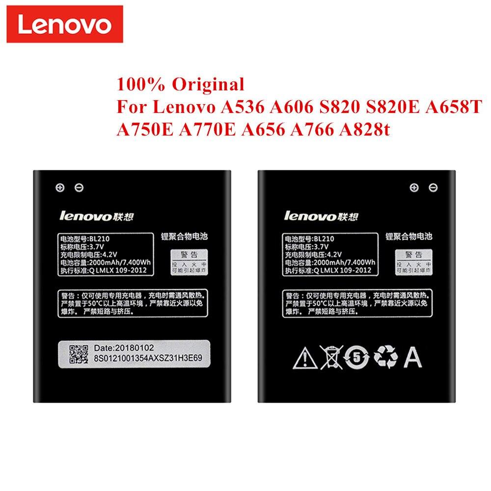 100% Original Bateria BL210 para Lenovo A536 A606 S820 S820E A750E A770E A656 A766 A658T S650 A828T BL-210 2000mAh genuine Akku