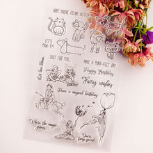 Dogs and Cat Fairy Clear Stamps Seal for DIY Scrapbooking Card Rubber Stamps Making Album Photo Crafts Decoration New Stamps azsg lovely cat clear stamps seal for diy scrapbooking card making photo album decoration supplies