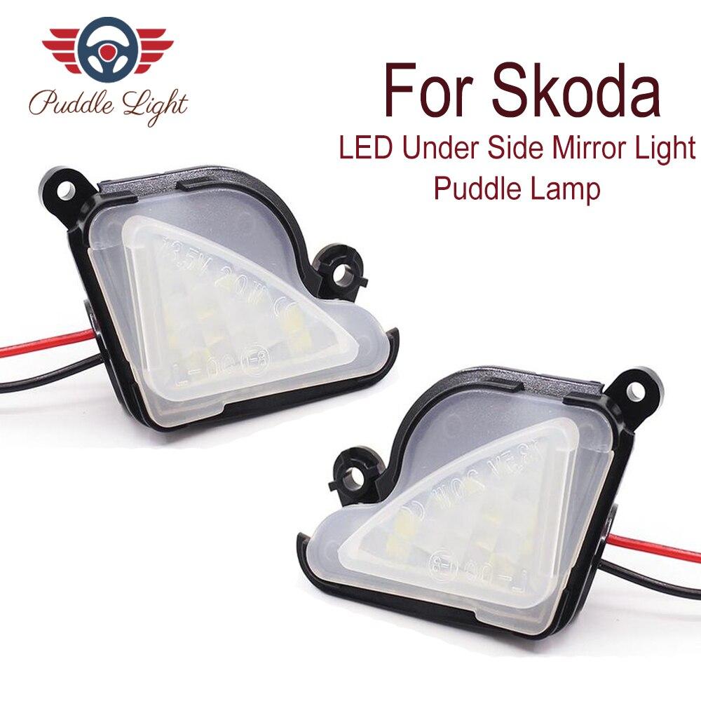 2x6000 K LED Branco Sob Mk3 5E Espelho Lateral Luz Puddle Lâmpada para skoda Octavia 2012-2017 superb Octavia 2 3