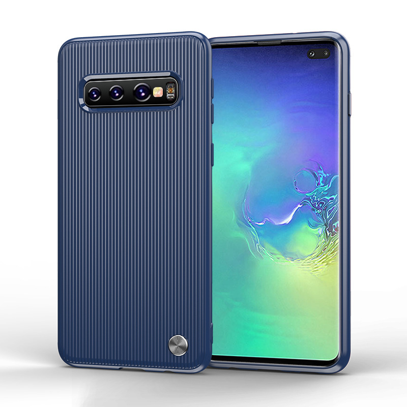 For Samsung Galaxy S10 Shatter-Resistant Striped Silicone Case Tpu Drop Resistant Cover Soft Simple Fashion Shell