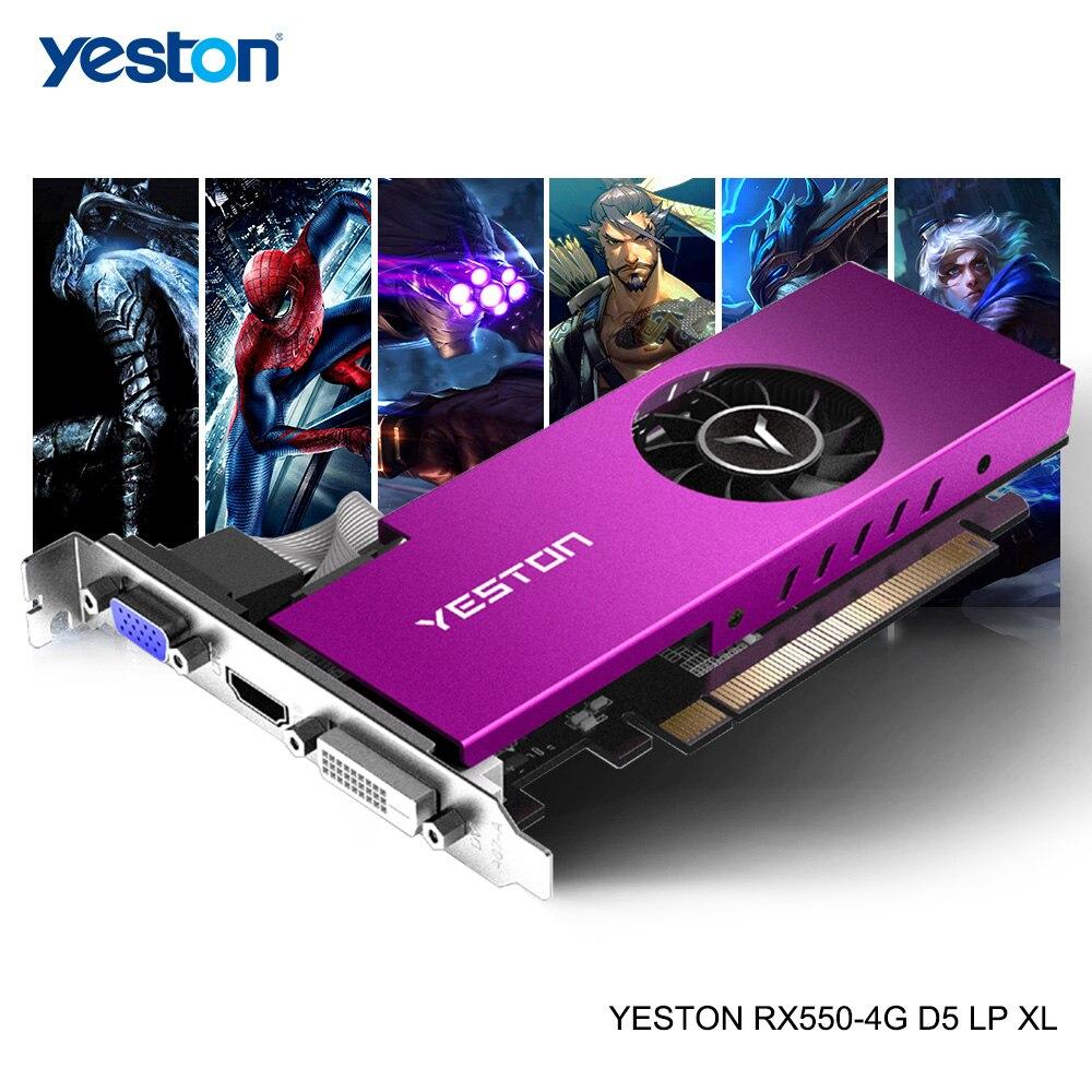 Yeston Radeon mini RX 550 GPU 4 ГБ GDDR5 128 бит игровой настольный компьютер ПК видеокарты Поддержка VGA/DVI-D/HDMI PCI-E 3,0