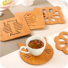Hollow wooden cup mat anti-slip kitchen anti-hot insulation creative tableware cute cartoon pot