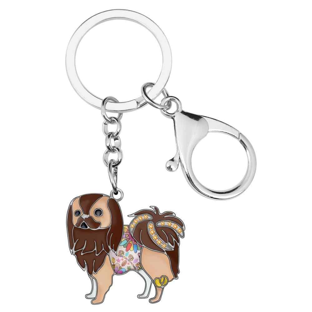 Bonsny Enamel Alloy ดอกไม้ญี่ปุ่นคางสุนัข Key CHAIN แหวนกระเป๋ารถกระเป๋าพวงกุญแจสัตว์สำหรับผู้ชายผู้หญิงตกแต่งของขวัญ