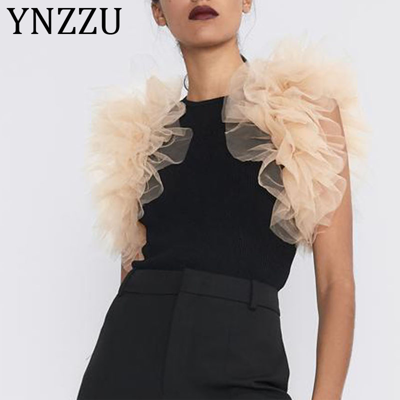 YNZZU 2020 New Women's Fashion Mesh Ruffles Sexy Club Playsuit Skinny Elastic Bodysuit Ladies Slim One Piece Overalls AJ041