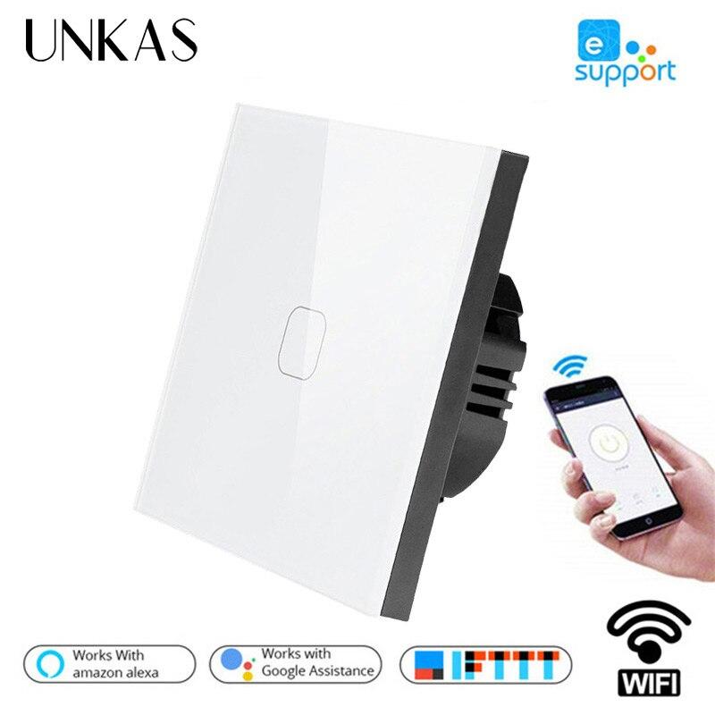 UNKAS Smart Home 1/2/3/4 Gang 1 voie sans fil WiFi ue Standard interrupteur tactile applique murale interrupteur tactile, contrôle d'application ewelink