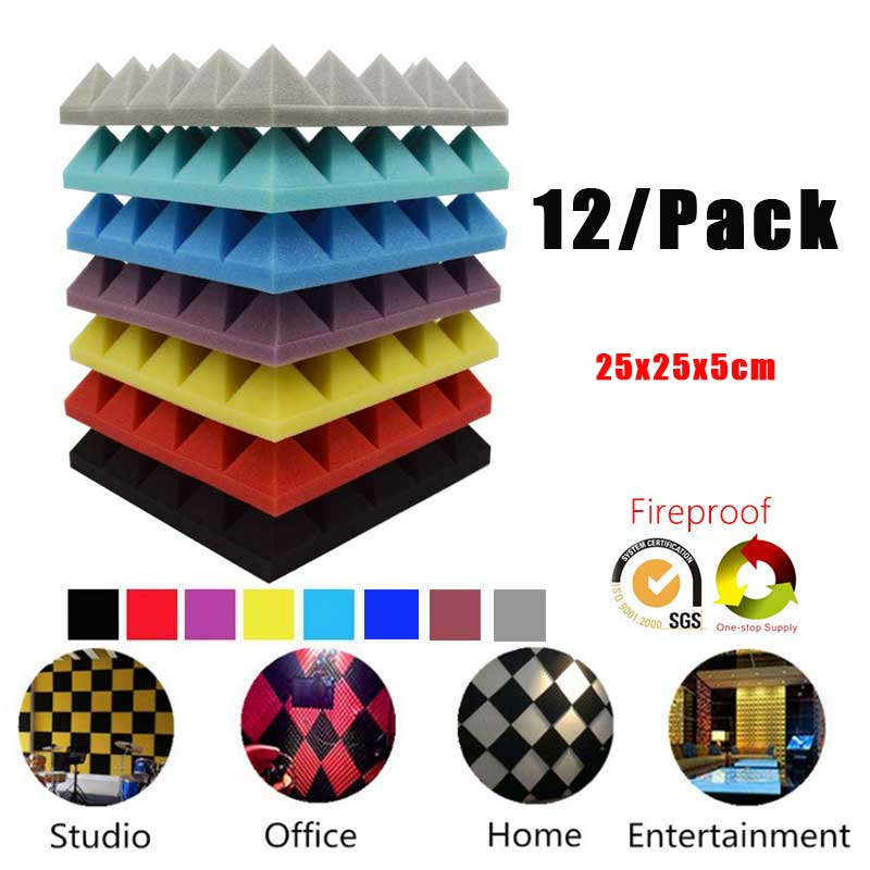 BEIYIN[12/Pack] Pyramid Acoustic Foam Soundproof Panel Studio Sound Treatments Sound Absorption Board Sound Insulation Tiles 2in