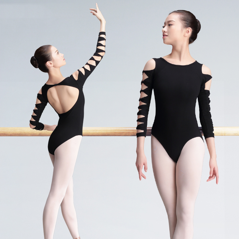 Sexy Backless Unitard Adult Girl Black 3/4 Long Sleeve Dance Practice Leotard Cotton Spandex Gymnastic Ballet Leotards For Women