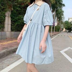Sukienka damska Harajuku lato z krótkim rękawem Kawaii słodkie dziewczęce sukienki Midi Holiday Chic-line popularny luźny, z klapami Soft Japanese