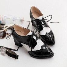 Zapatos de salón de tacón grueso zapatos puntiagudos Vintage mujer tacones altos Retro Brogues vestido con cordón zapatos Oxfords señoras primavera 2020